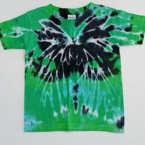 Hand Dyed Tie Dye Tee Shirt Kids 4T Green Blue Cob